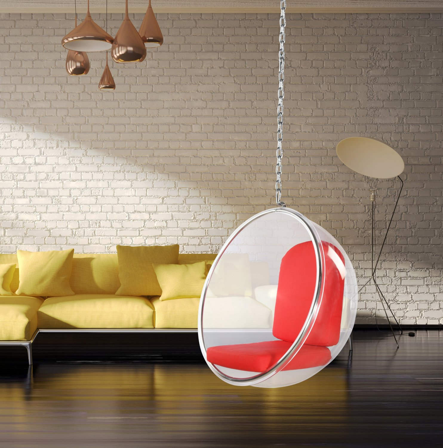 hanging bubble chair cheap red
