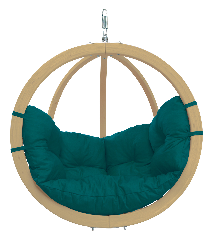 Hanging Globo Chair, Green Wood