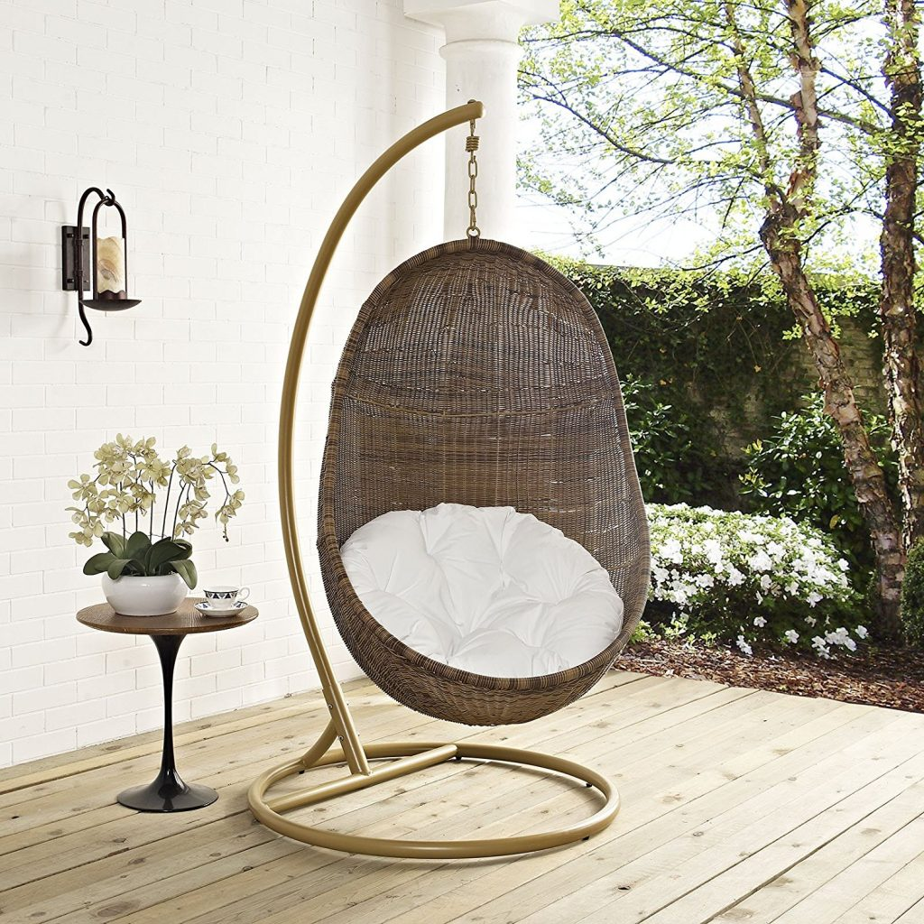Hanging Egg Rattan Chair with Stand