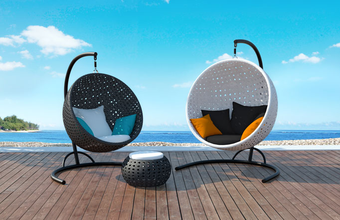 Hemisphere Hanging Round Basket Chairs By Bloom