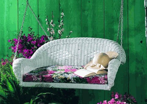 wicker patio swing with chains