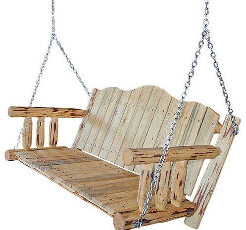 Rustic Wooden Patio Swing