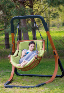 Wooden Trapezoid Swing Chair With Stand Outdoor