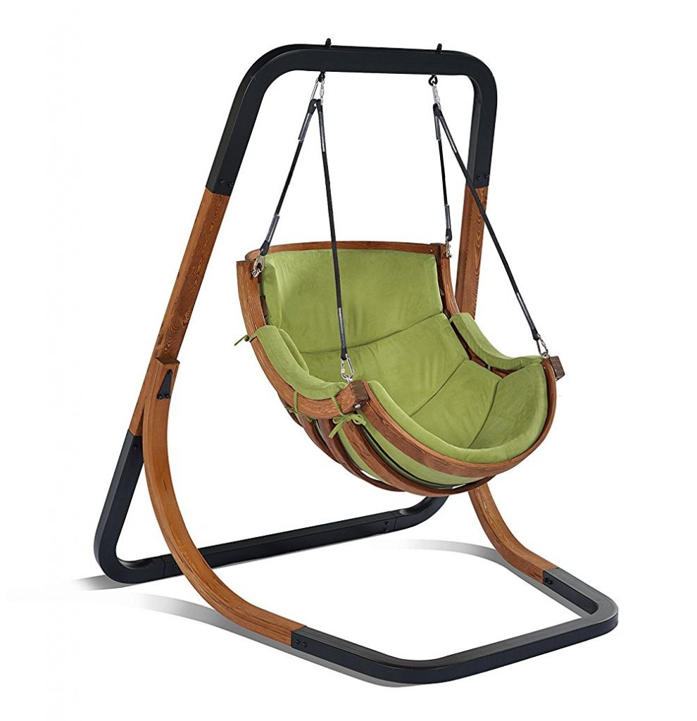 Wooden Trapezoid Swing With Stand
