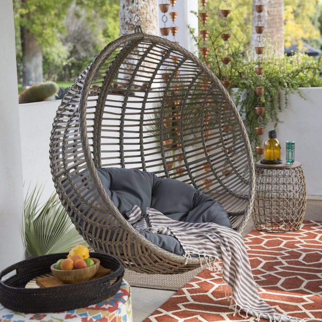 Hanging Round Wicker Chair with Cushion and Stand in Driftwood Finish