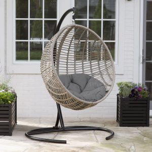 Outdoor Swing Chair with Stand and Cushion by Island Bay