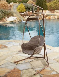 Outdoor Wicker Woven Hanging Chair with Stand