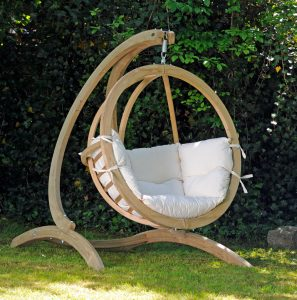 Hanging Globo Chair with Stand in Garden