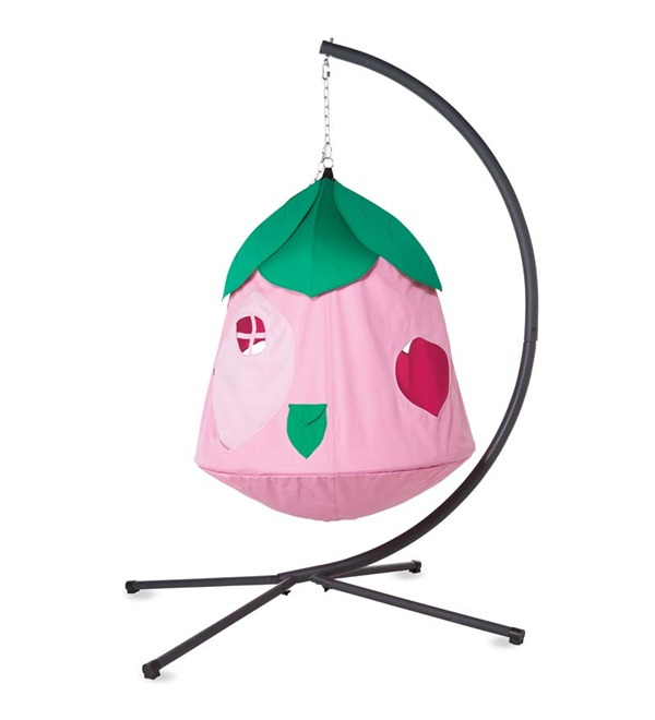 hanging tent chair with stand in pink - for girls cozy posy huggle pod