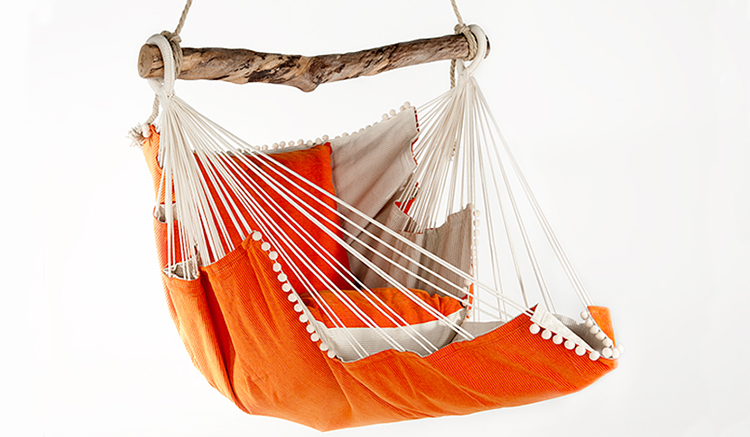 Handmade-Chillout-Chair-Hammock-Wooden Spreader Bar in-Orange