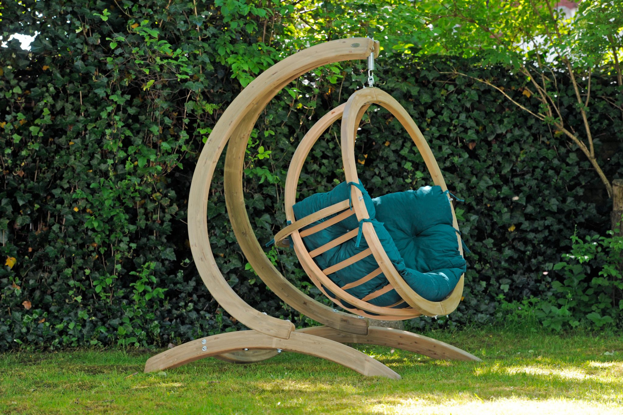 Wooden Globo Hanging Chair with Stand