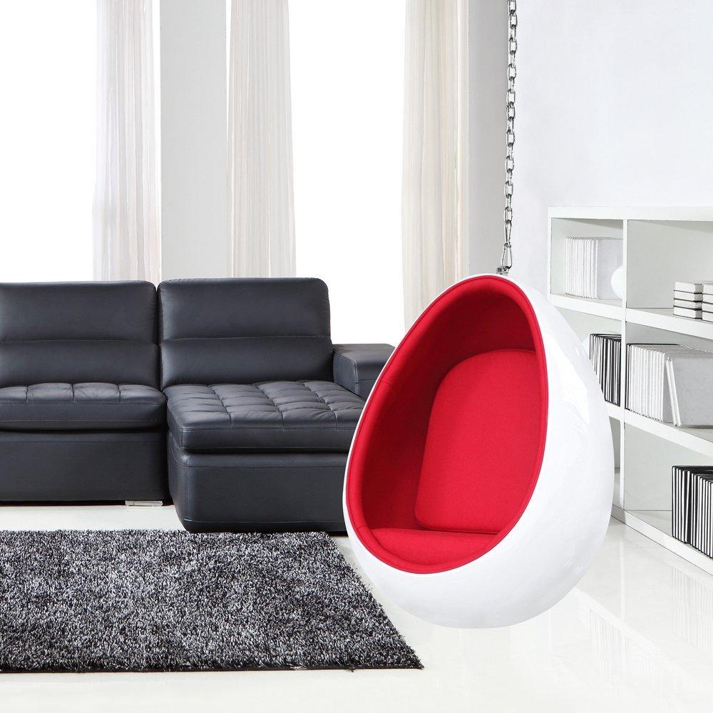 Moderng Hanging Egg Chair Red White Fiberglass