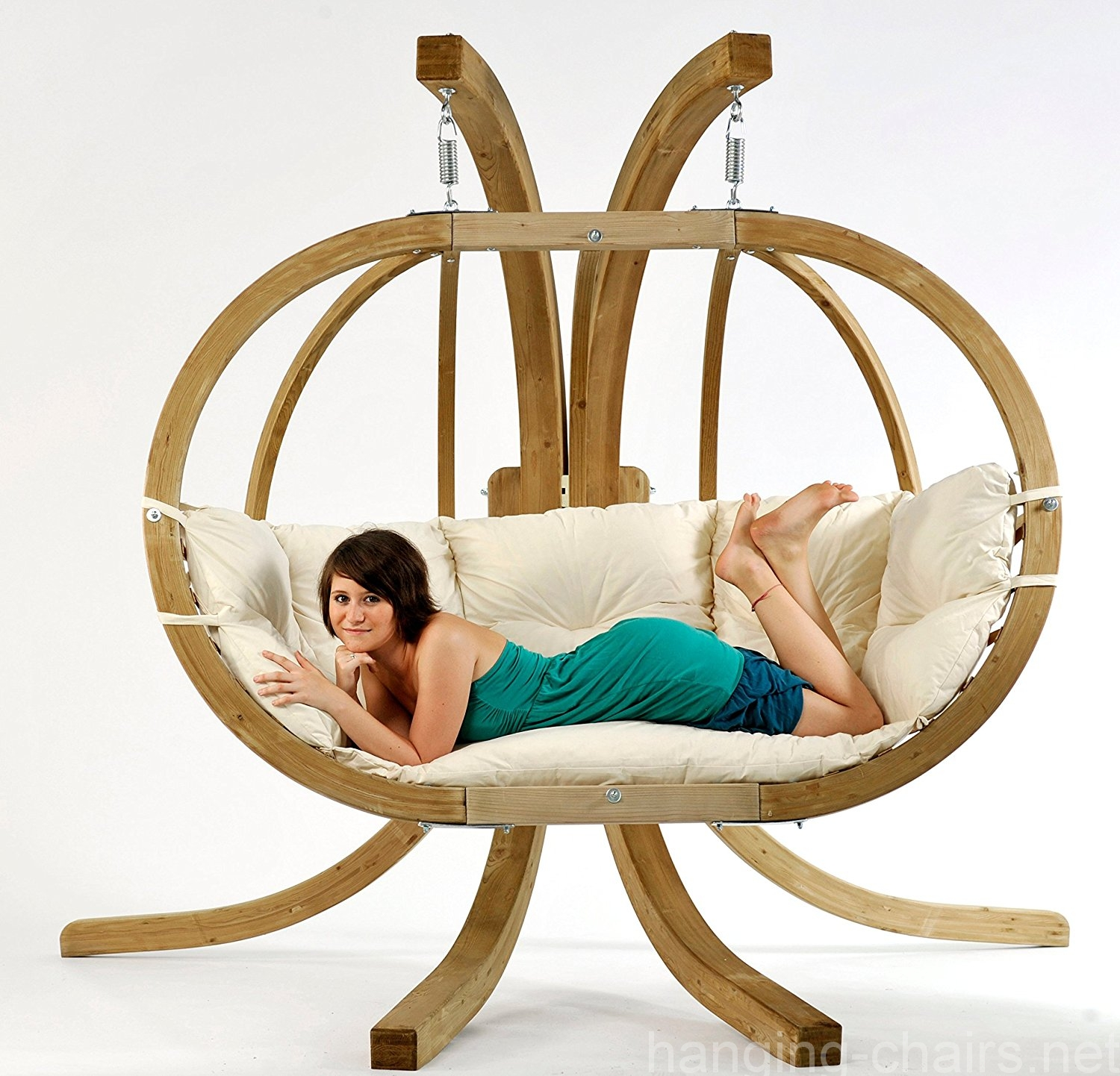 Wooden Loveseat Double Swing Chair