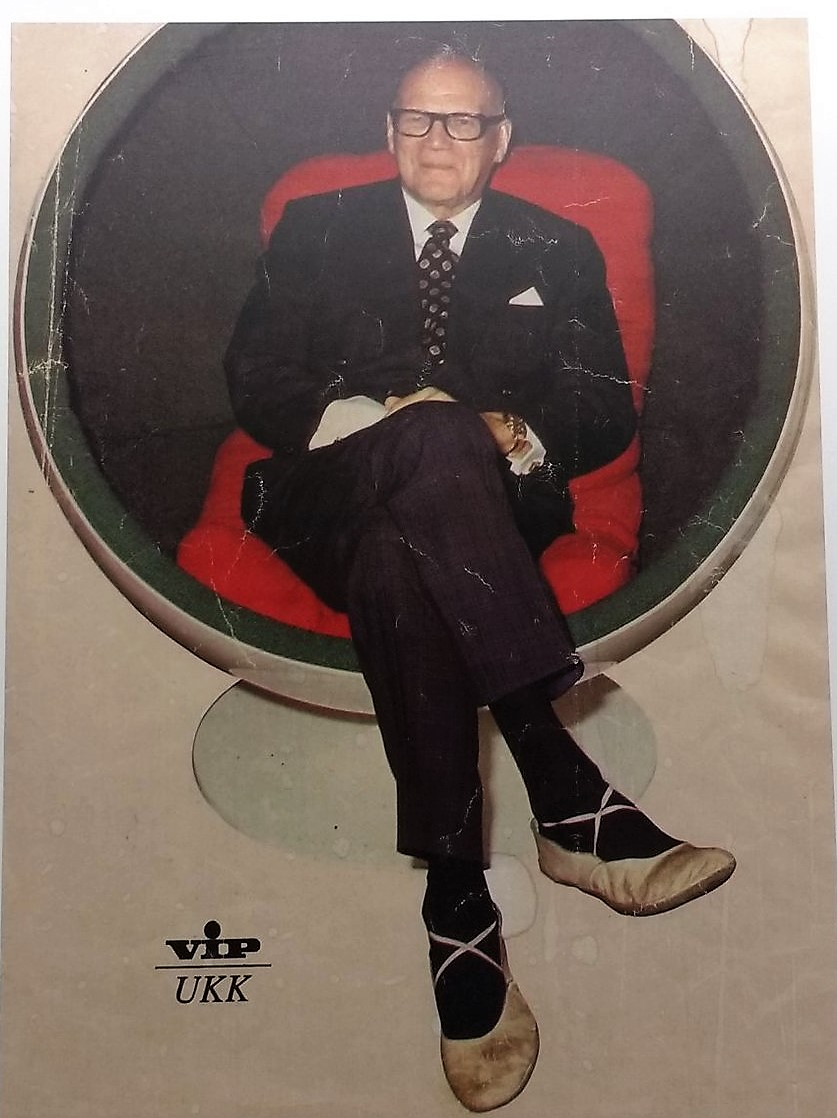 President of Finland Urho Kekkonen sitting in the fabulous BallChair- Finish VIP Magazine 1973