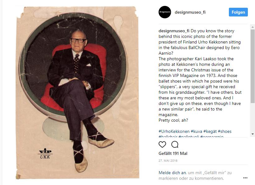 President of Finland Urho Kekkonen sitting in the fabulous VBallChair- Finisf VIP Magazine 1973 Instagram