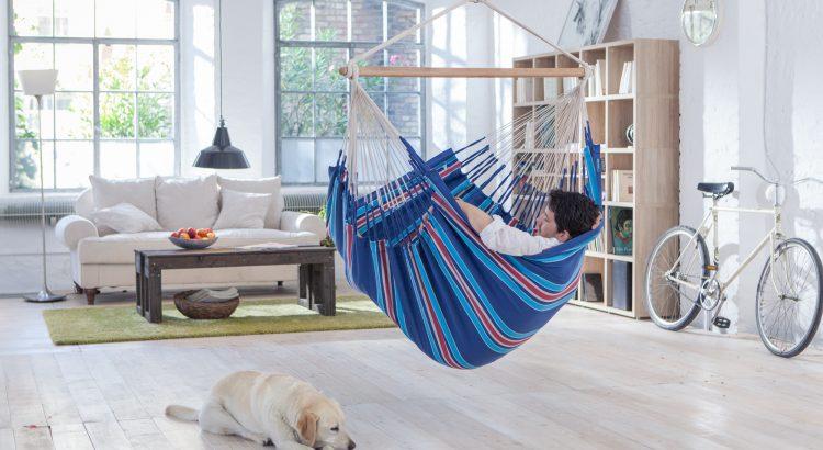indoor big hammock chair twho person blue la siesta