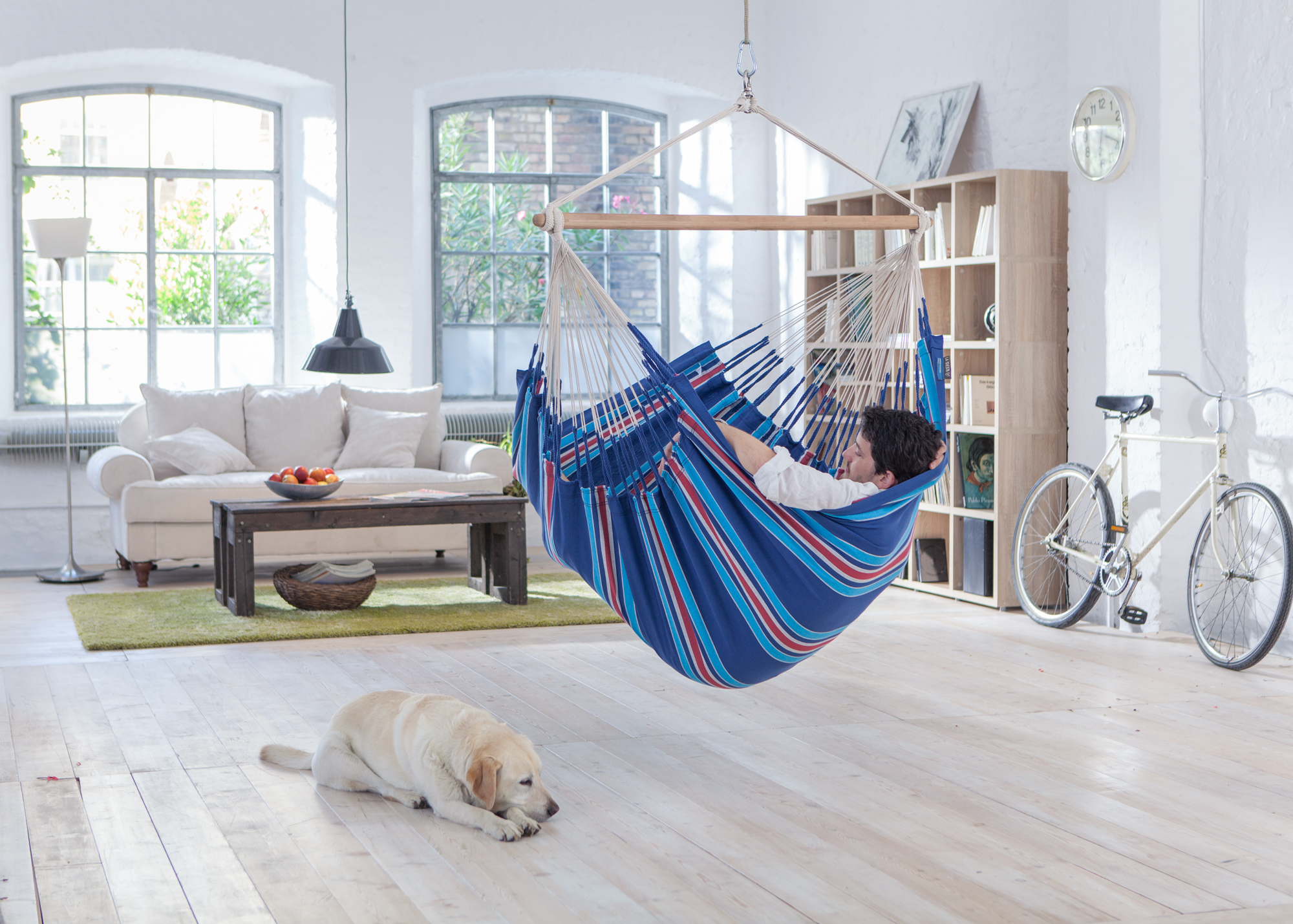 indoor big hammock chair twho person blue la siesta