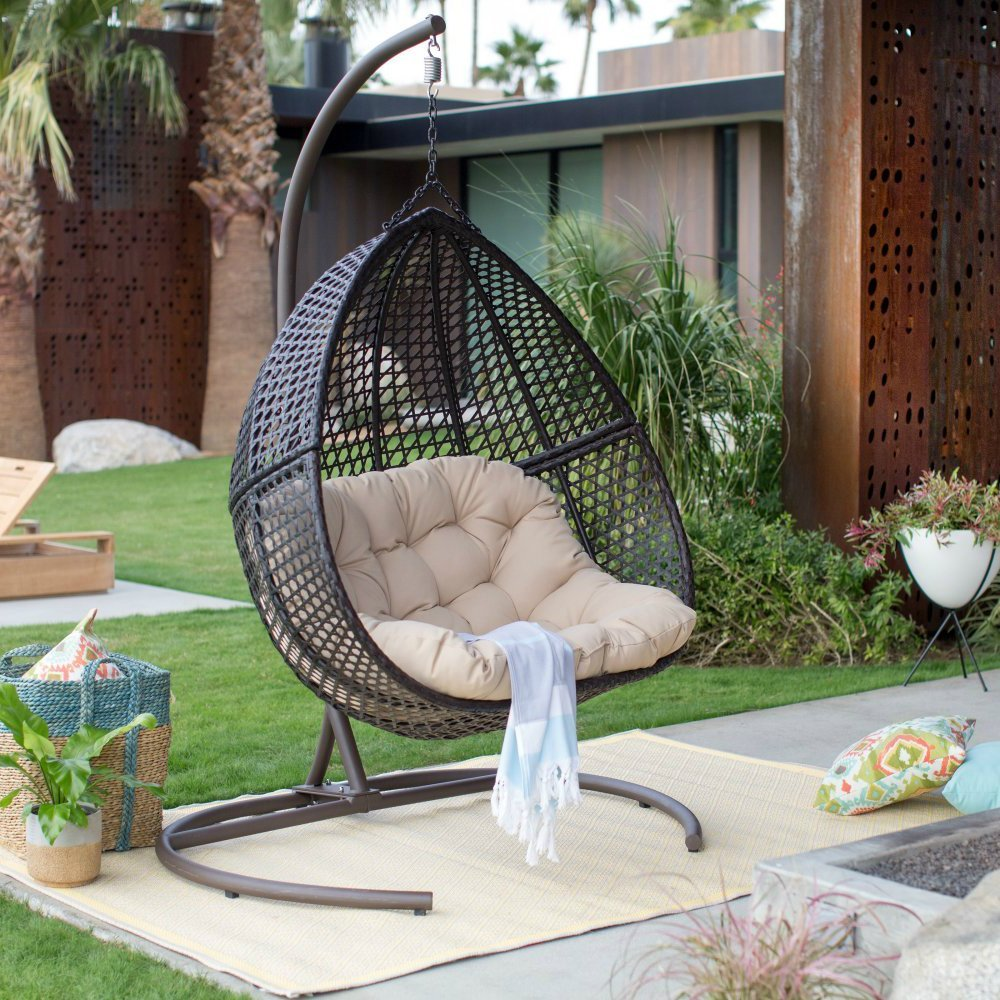 2 Person Resin Wicker Hanging Egg Loveseat Swing Chair in Espresso
