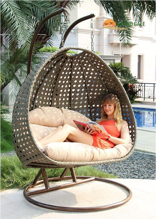 2 Seat Wicker Hanging Swing Chair