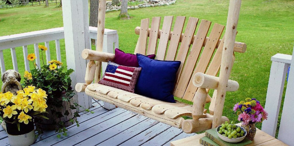 Best-rustic-wooden-Porch-swing by Lakeland Mills- porch swings made in the USA