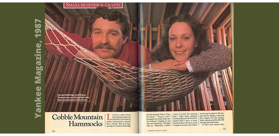 Gordon and Nancy -Cobble Mountain Hammocks 1987- Yankeemagazine