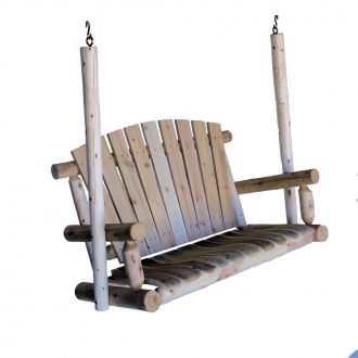 Rustic Wooden Cedarr Porch Swing for Two Person made in the USA Lekeland Mills