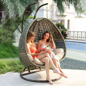 XL Outdoor Patio Wicker Swing Chair with Stand