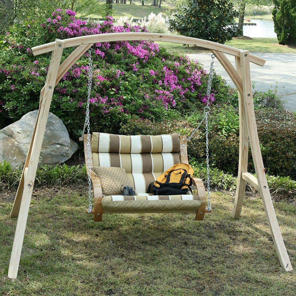 patio swing chair 2 seater with wooden stand