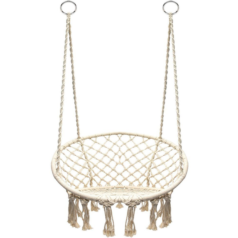 The macrame swing net chair can