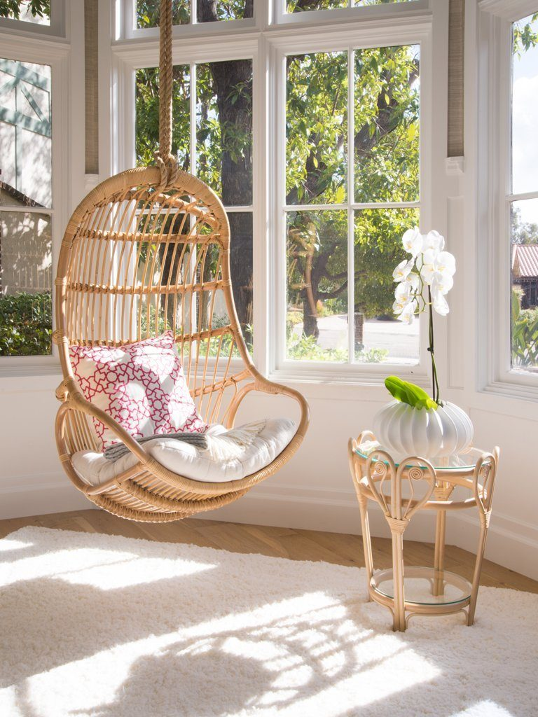 hanging chair in natural rattan for bedroom - Chair For Bedroom
