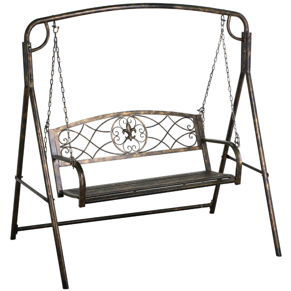 Yaheetech Iron A Frame Porch Swing Stand Bronze Finish