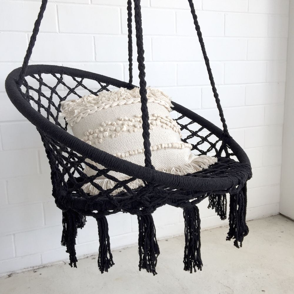 black macrame net swing chair