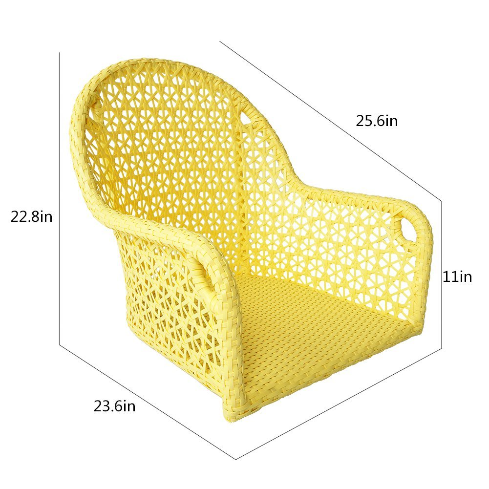 yellow wicker chair measurment