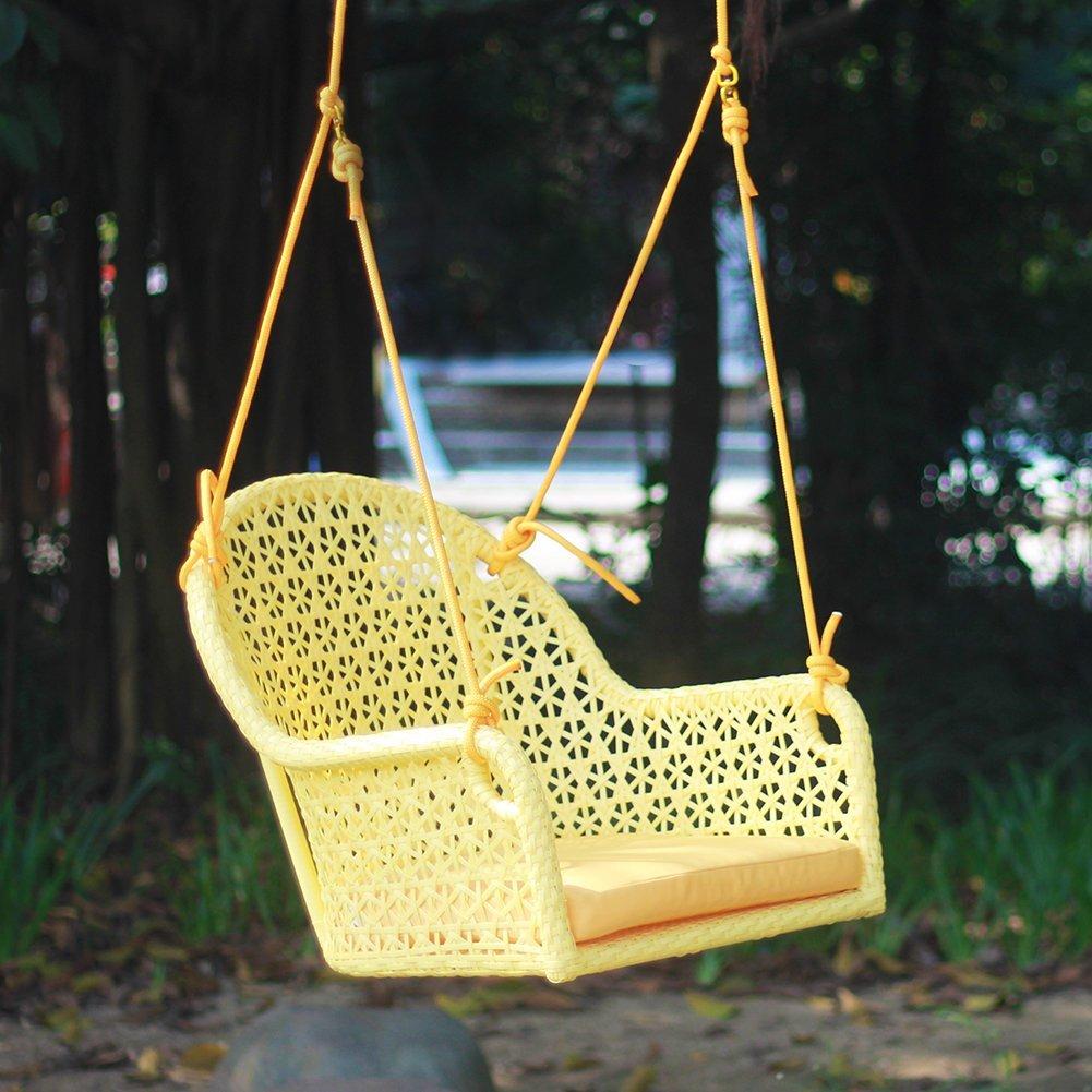 ART TO REAL Wicker Porch Swing Chair for Children or Adult Hanging Rope Chair Swing Seat Indoor and Outdoor