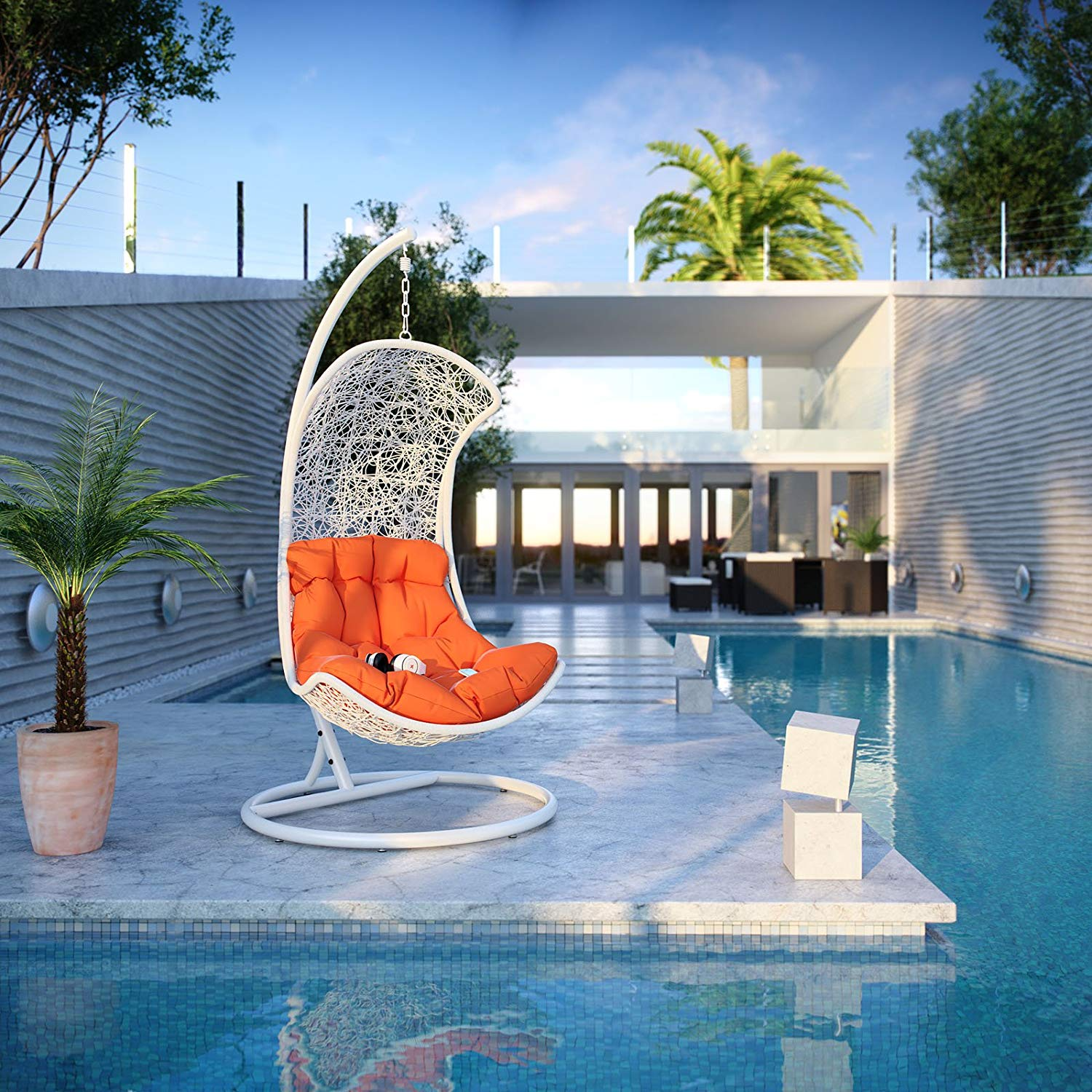 Endow White Outdoor Wicker Patio Swing Chair Set with Stand- Modway Review
