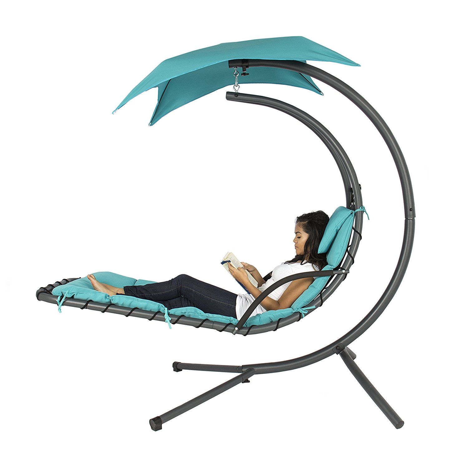 Hanging Chaice Lounger Chair with Arch Stand and Conopy review