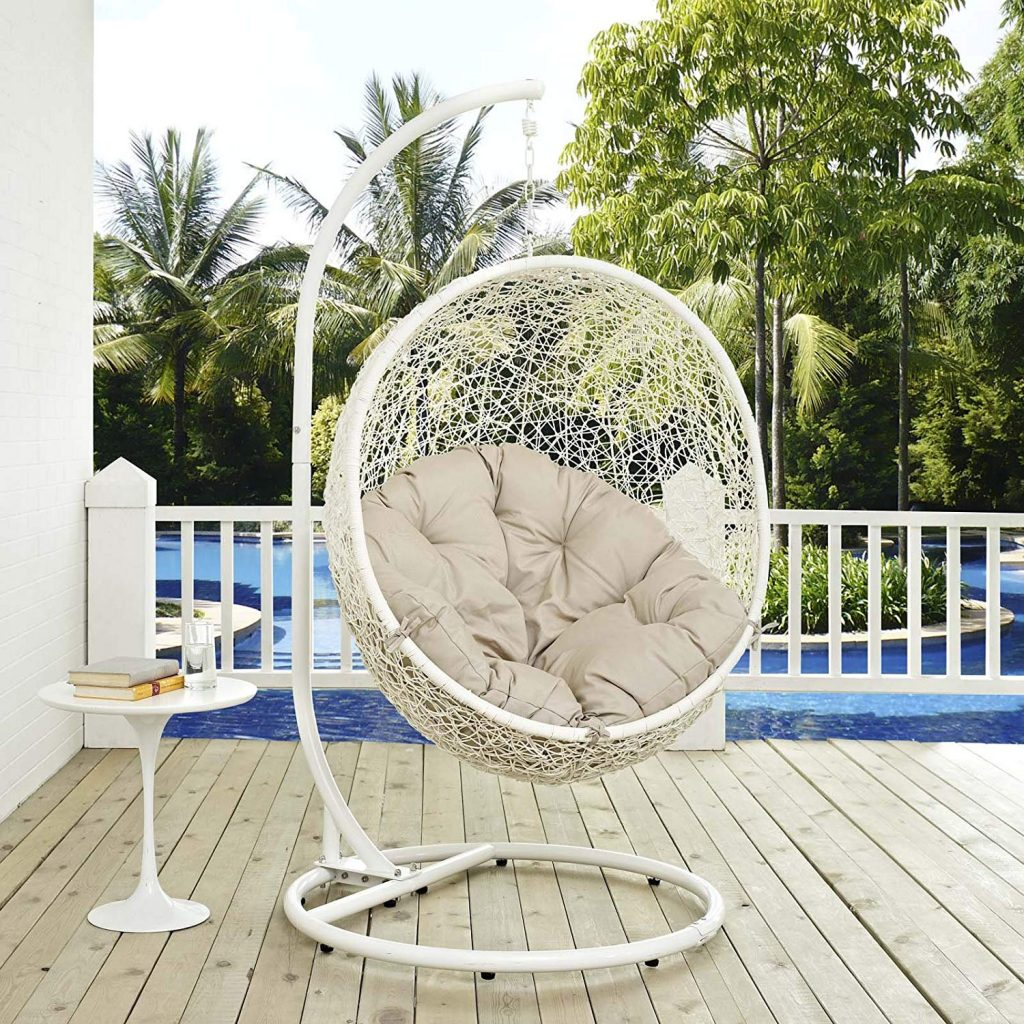 Outdoor Patio White Wicker Swing Egg Chair Modway