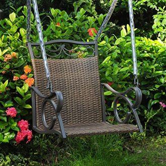 Resin Wicker Hanging Single Porch Swing Black