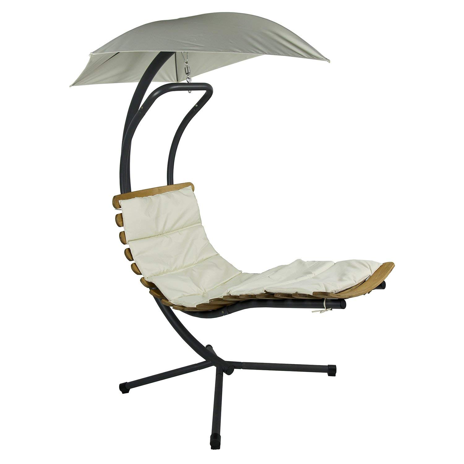 wooden small lounger with canopy curved
