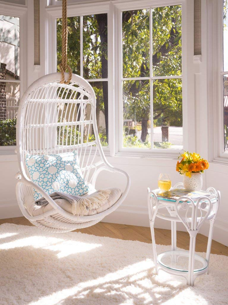 White Natural Rattan Hanging Chair Indoor Large