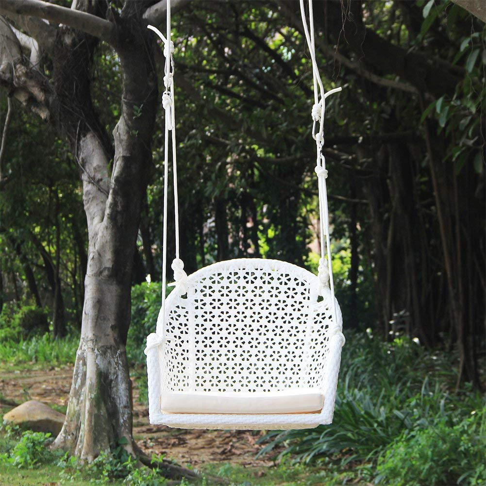White Wicker Porch Swing Chair Art To Real for Garden