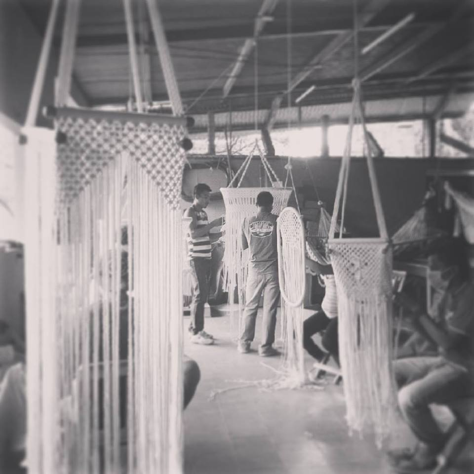 Big Hanging Chair in Macrame with Cotton filling inside