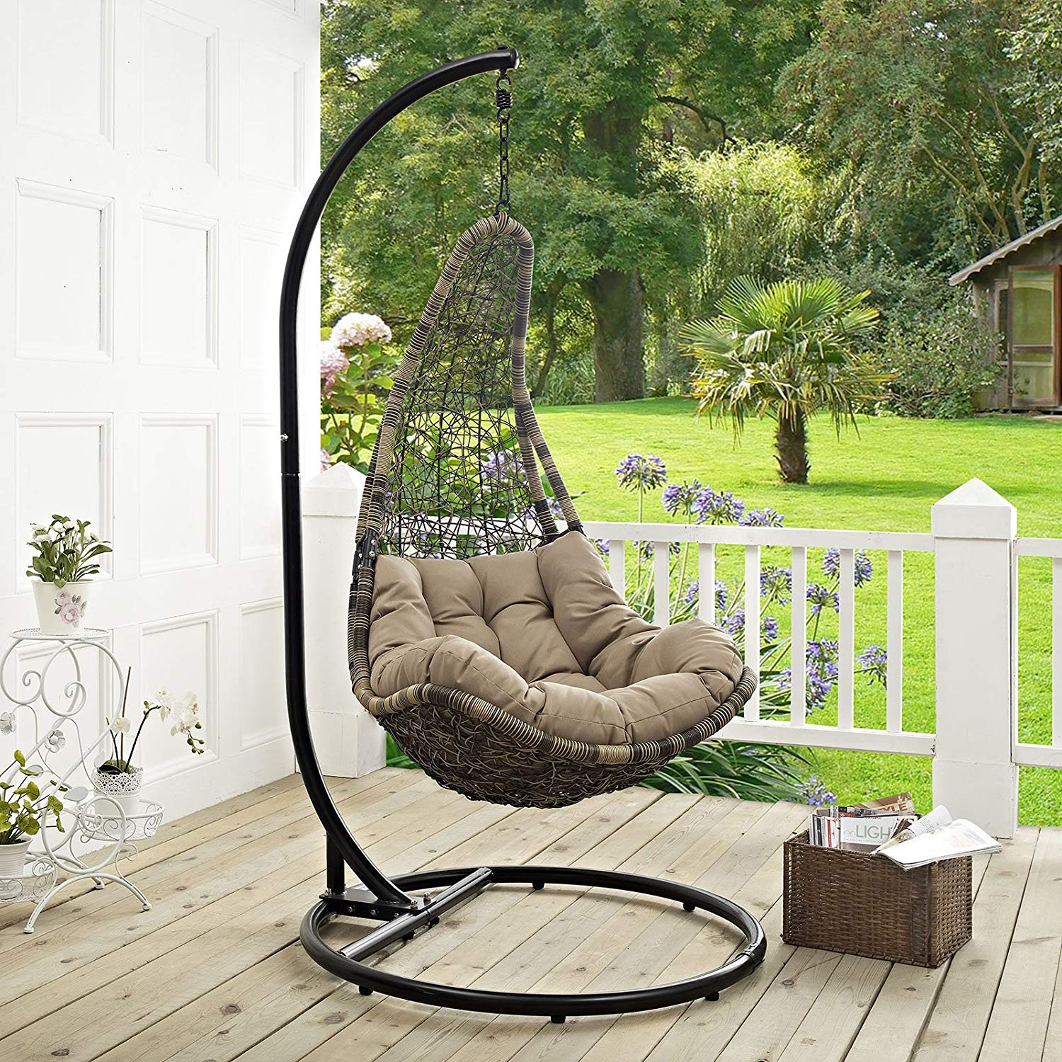 Brown Lounge Swing Chair Set with Stand Modway