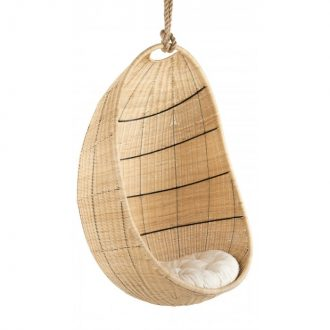 Cocoon Wicker Hanging Swing Chair Natural Rattan