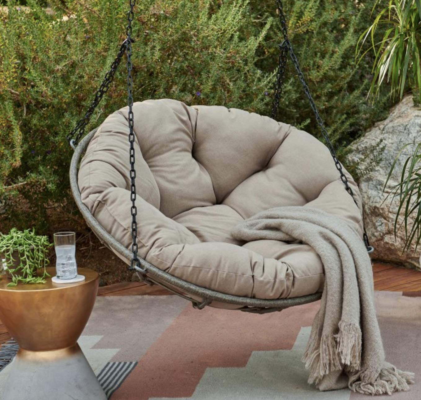 Hanging Papasan Swing Chair with Cushion