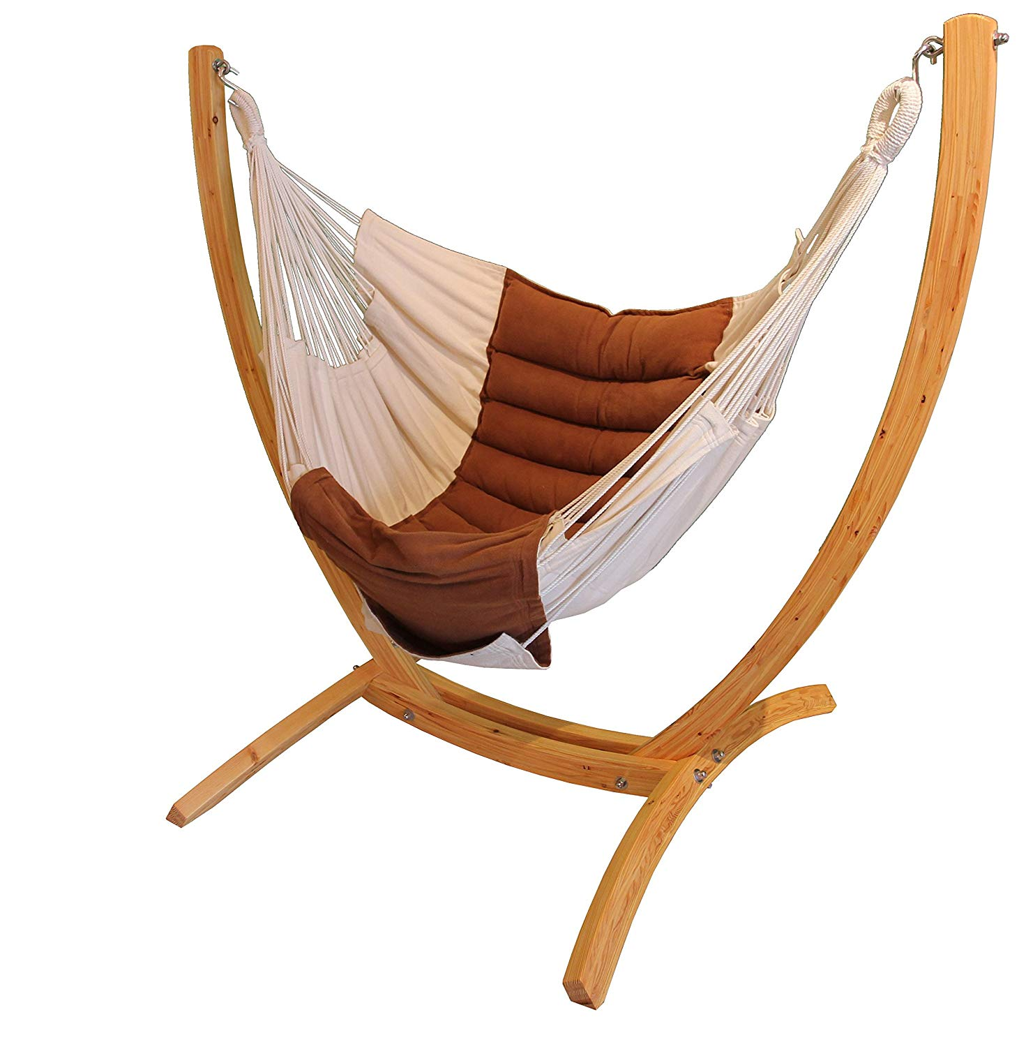 Hanging Chair Rocker Lounger Brown-Ecru Boho with stand