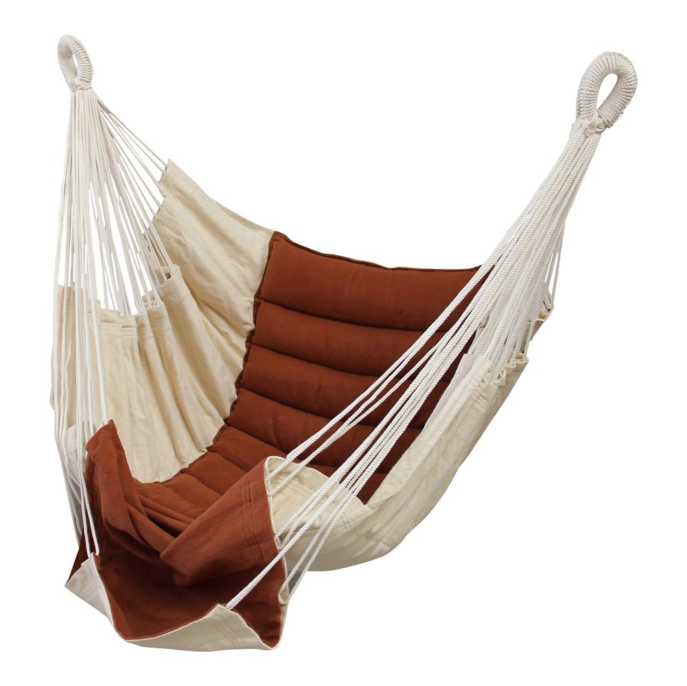 Hanging Chair Rocker Lounger Brown-Ecru Boho