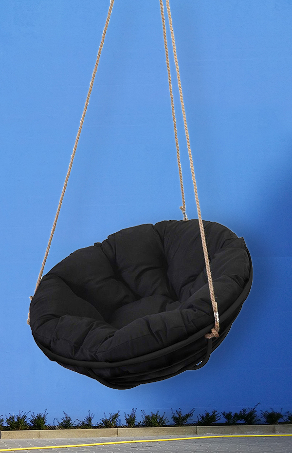 black-hanging-papasan-chair-blue-background