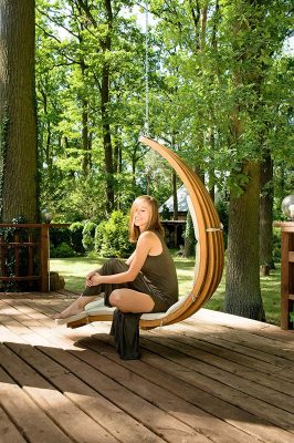 wooden curved hanging chaise lounger swing without stand- beautiful deign