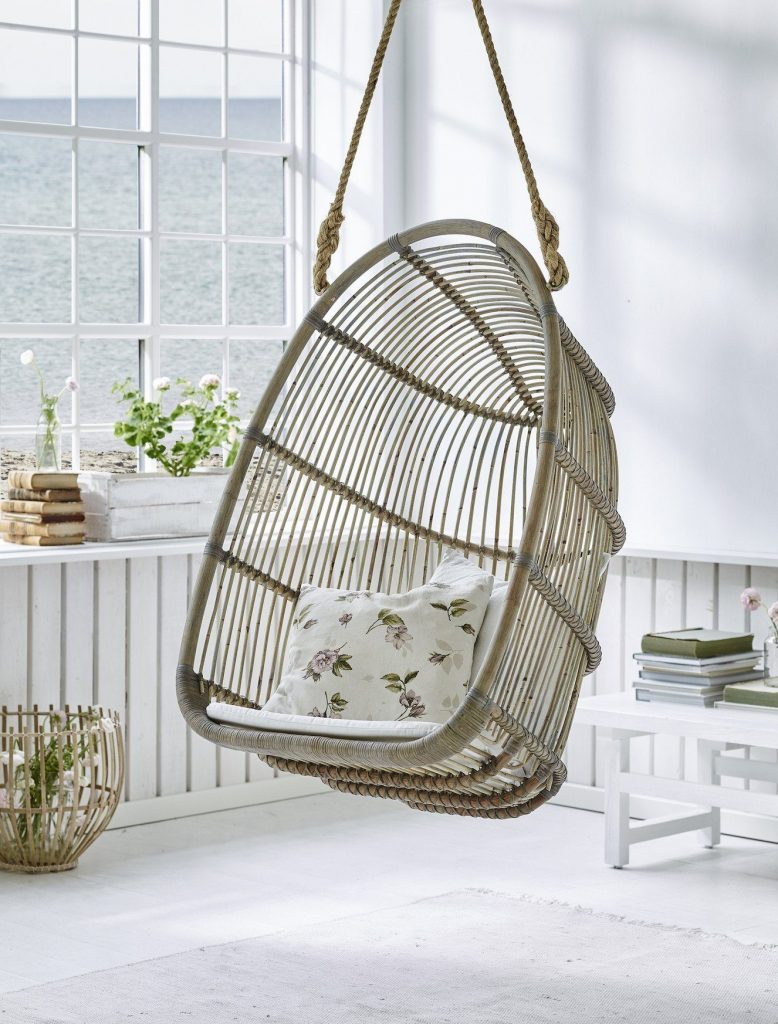 Basket Swing Chair Hand Made with cushions and rope